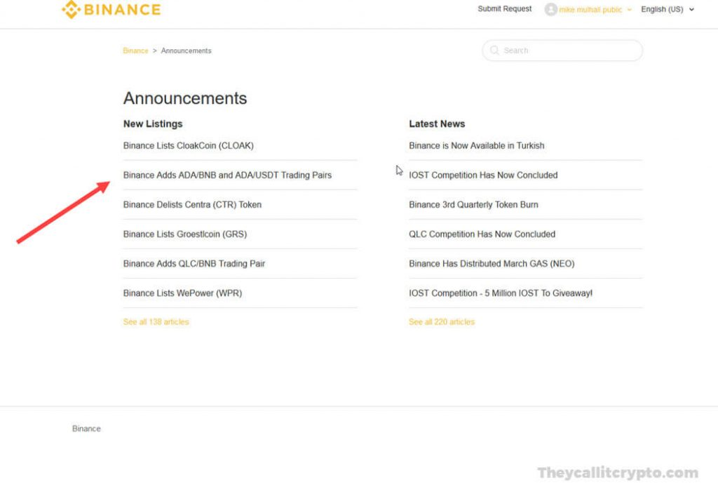 Screenshot of new coin announcements on Binance