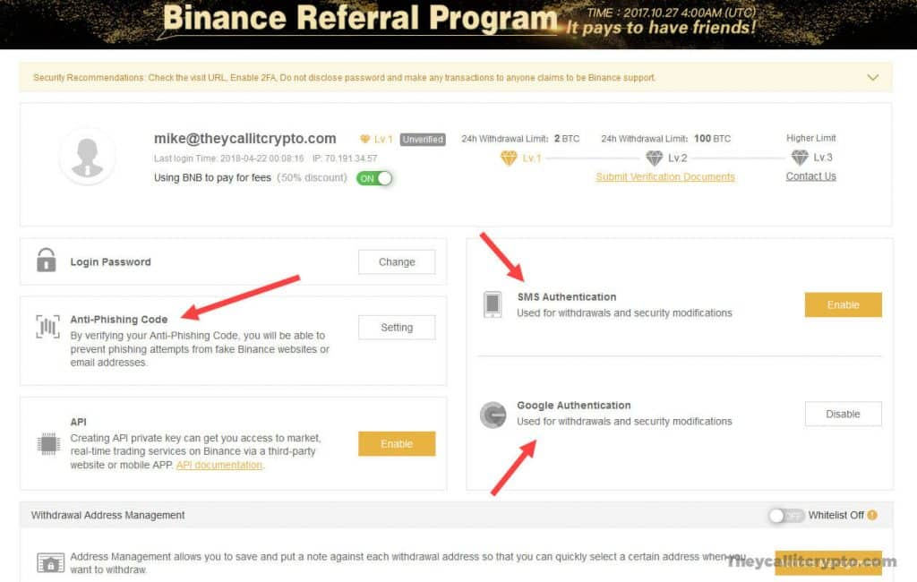 Screenshot of Binance security features