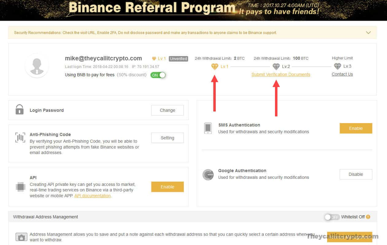 Screenshot of KYC and account levels on Binance