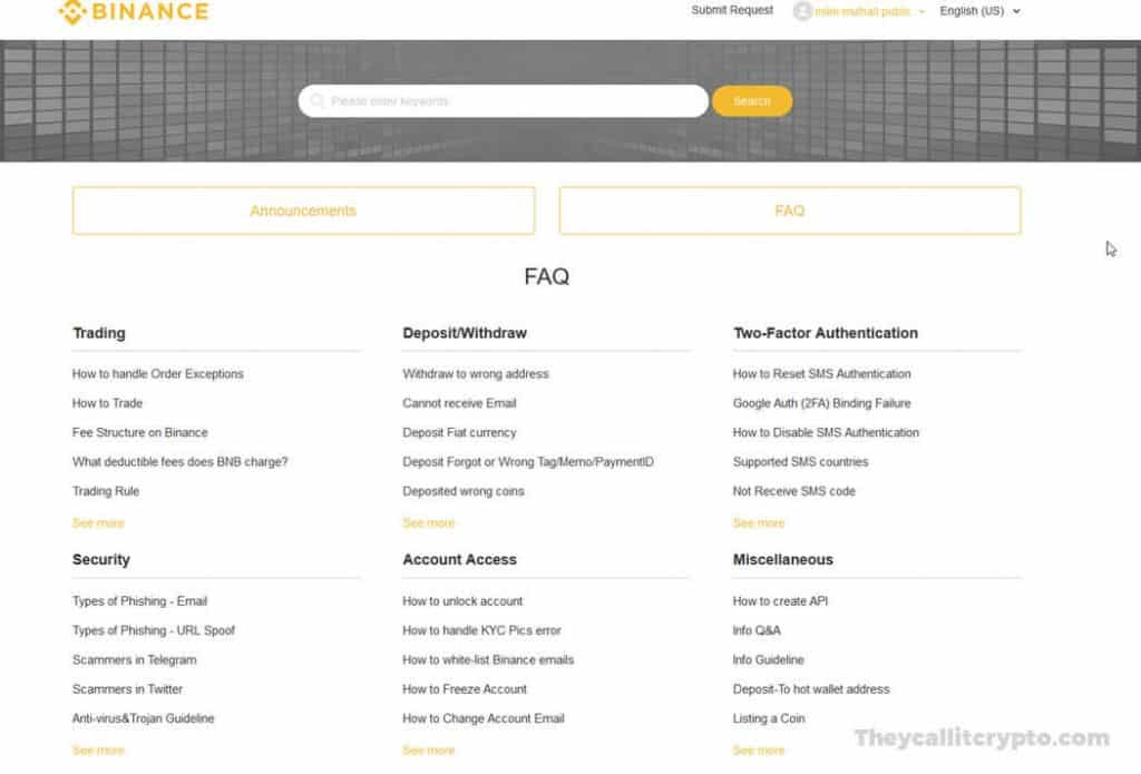 Screenshot of customer service portal on Binance