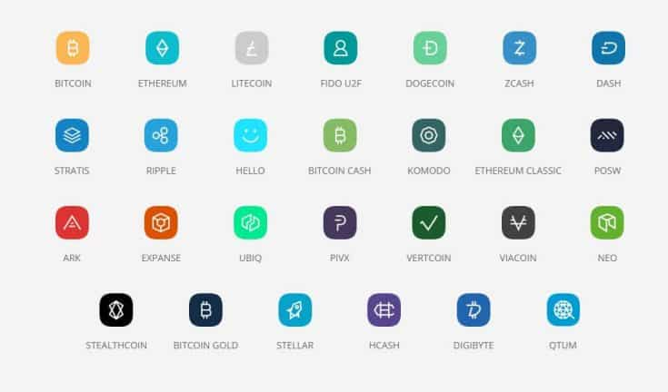 screenshot of coins supported by ledger nano s