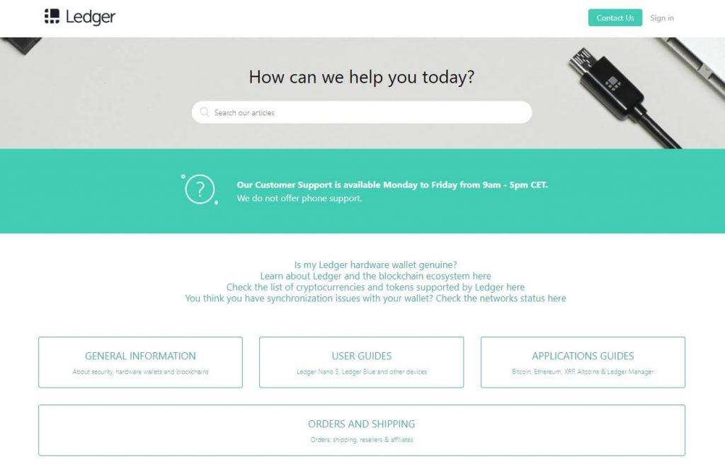 Screenshot of Ledger customer service portal
