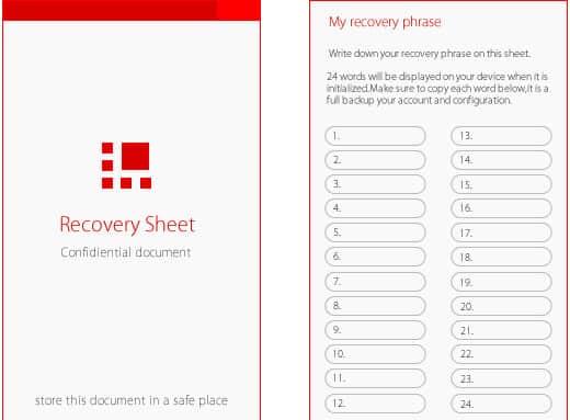 Ledger Nano S recovery phrase sheet