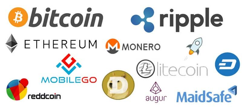 logos of cryptocurrencies