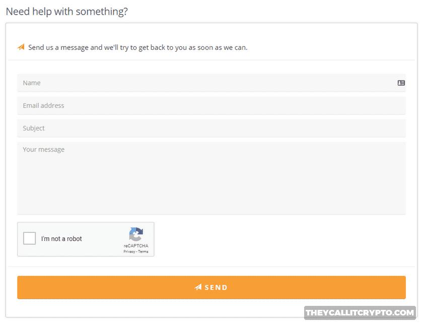 Bitquick customer service screenshot