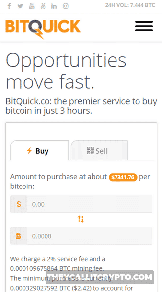 Bitquick mobile website screenshot