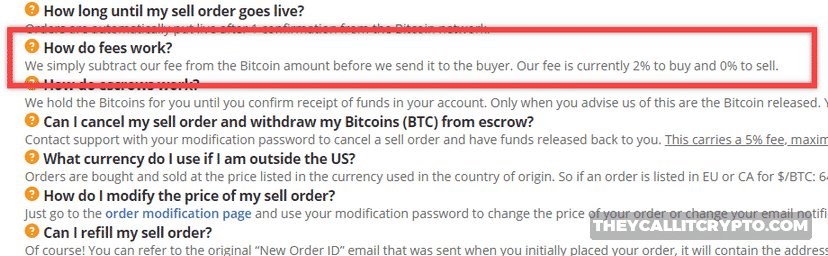Screenshot of Bitquick fees