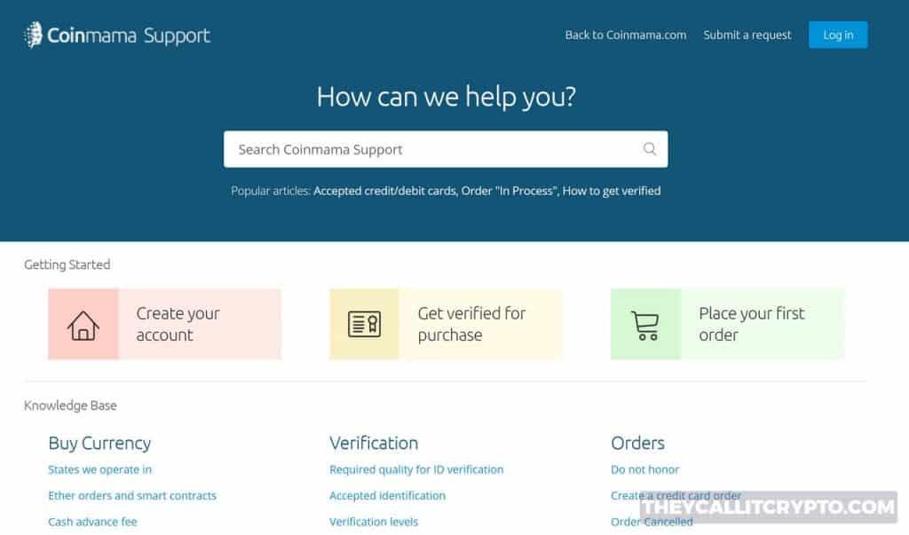 Coinmama customer support screenshot