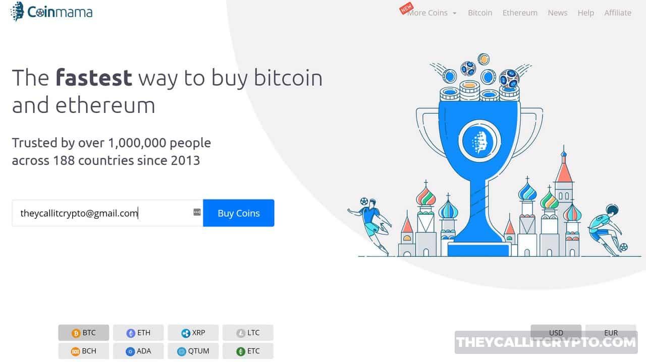Coinmama homepage screenshot