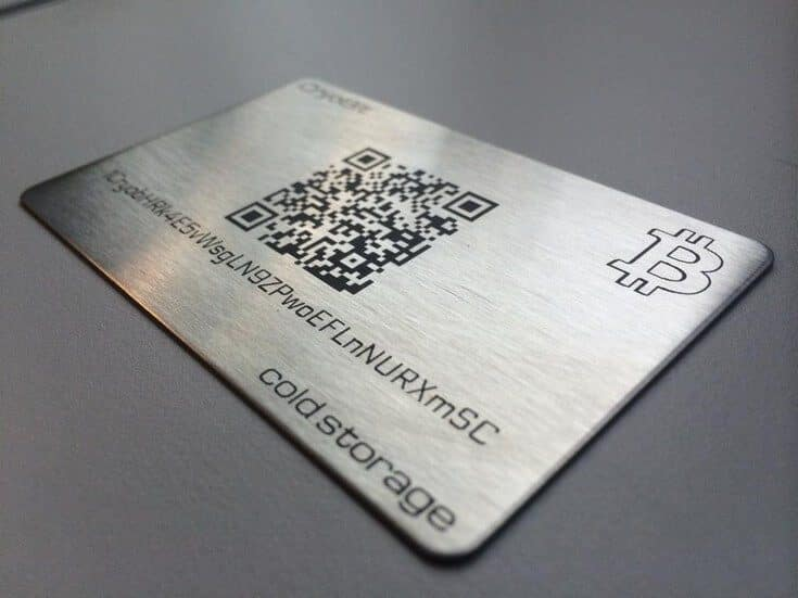 photo of a metal bitcoin wallet