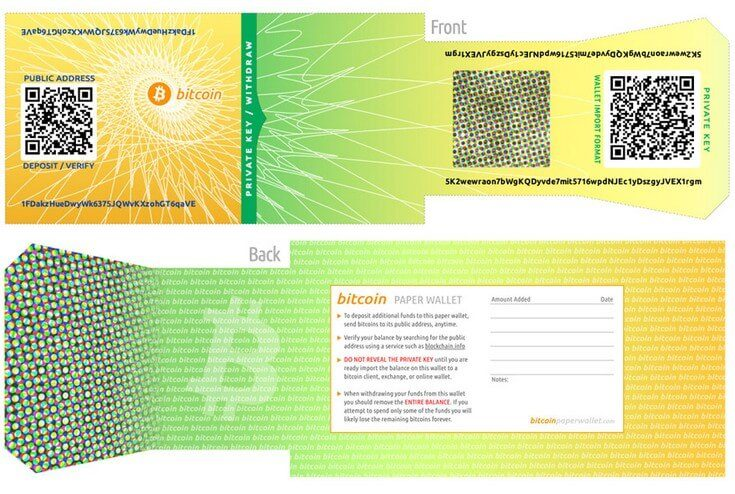 photo of bitcoin paper wallet