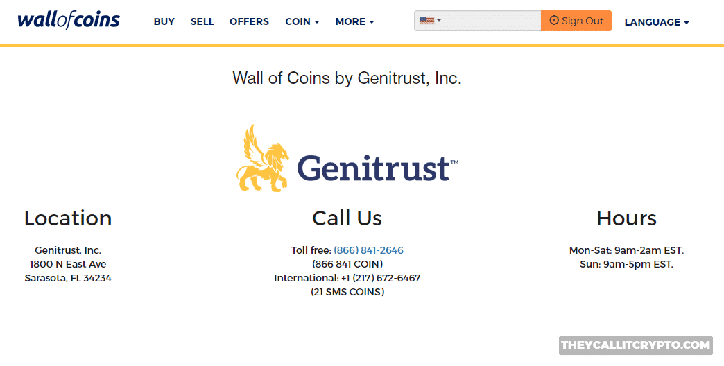Wall of Coins customer service screenshot