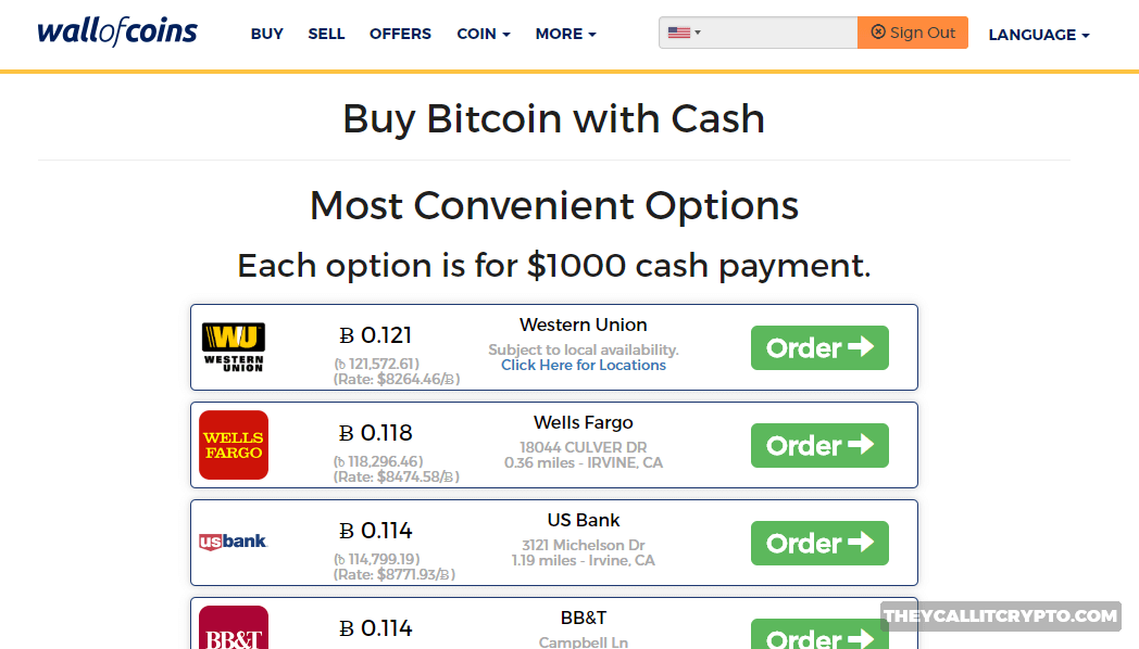Wall of Coins Buy Bitcoin Screenshot