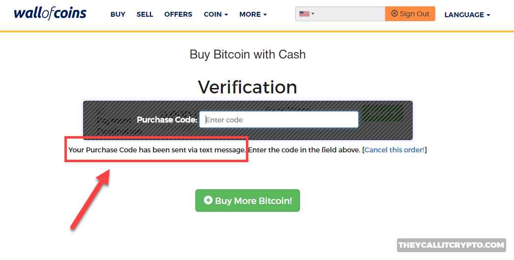 Wall of Coin purchase code verification screenshot