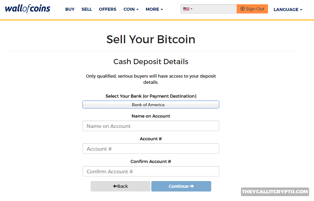 Selling your Bitcoin on Wall of Coin screenshot