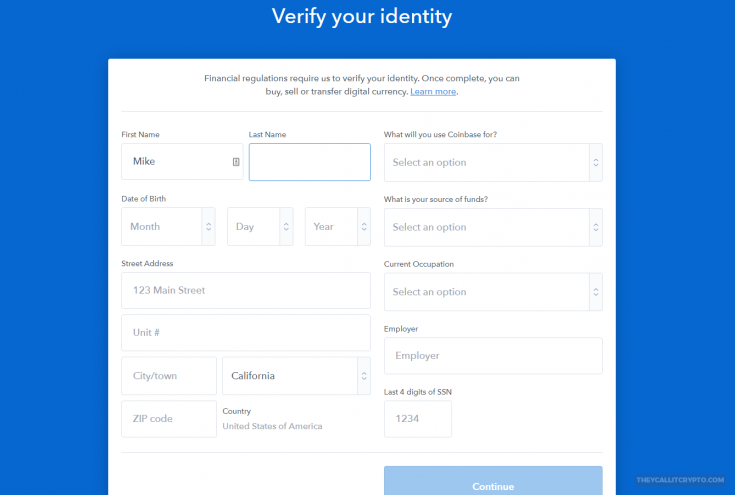 coinbase id verification screenshot