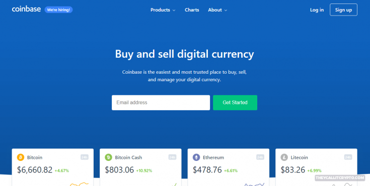 coinbase homepage screenshot
