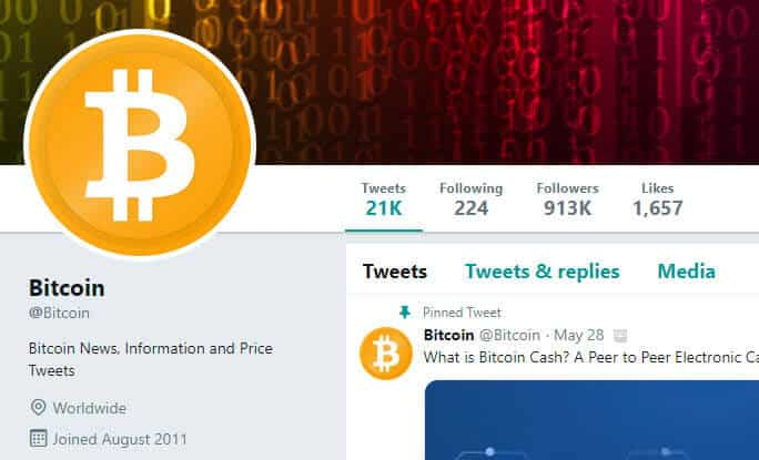 Twitter profile for Bitcoin